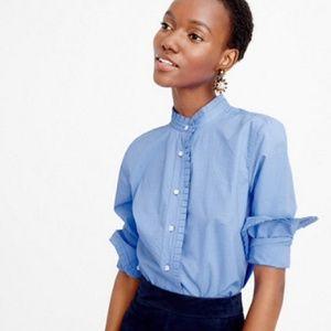 NWT J Crew 00 Blue Long Sleeve Button Up Shirt